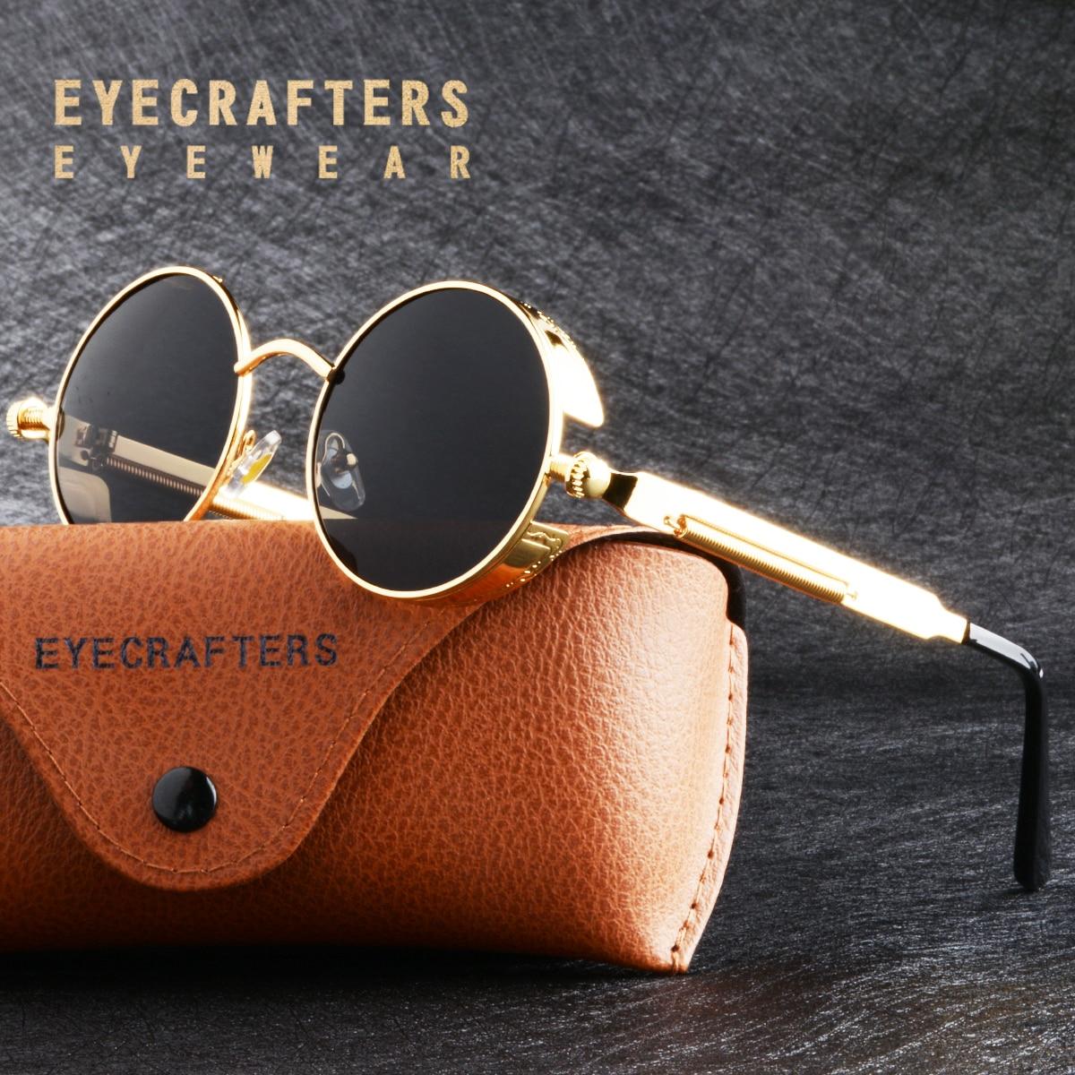 Lunettes de soleil polarisées en métal doré   Steampunk gothique, mode rétro Vintage bouclier de lunettes pour hommes et femmes 2020