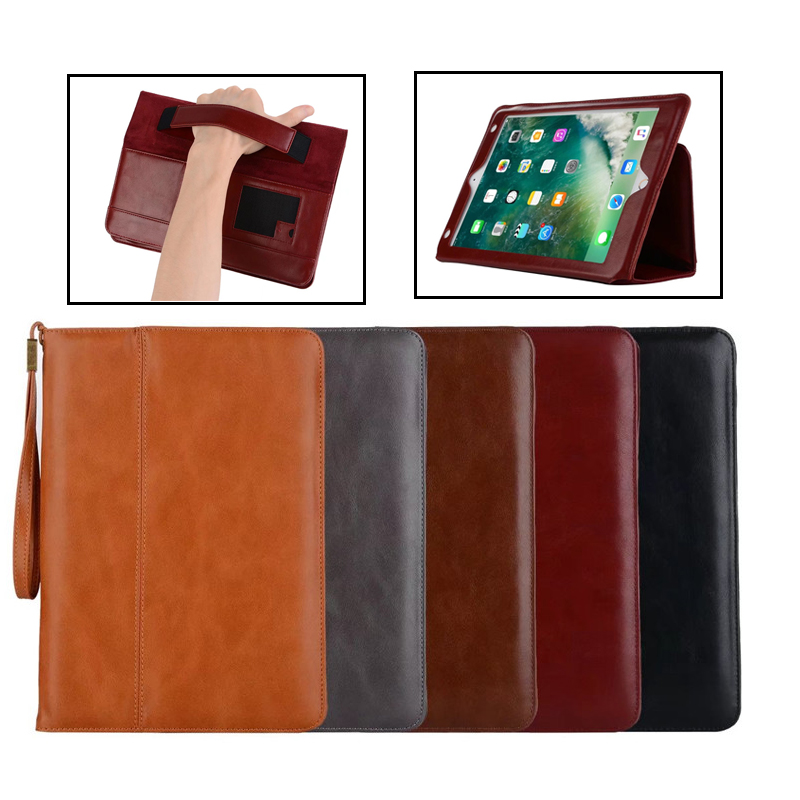 Cover case funda for Apple iPad 2/3/4/5/Air 2/Pro tablet soft PU leather hand holder strap business book case for iPad 9.7 2017 2017 silicon slim soft tablet case for ipad air 1 rubble protective funda cover for apple ipad air 1 2 for ipad 5 6 case capa