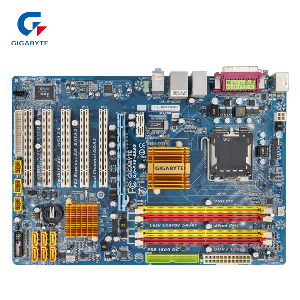 Gigabyte GA-P43-ES3G REV 1.0 Original Used Desktop Motherboard P43-ES3G P43 Socket LGA 775 DDR2 ATX On Sale