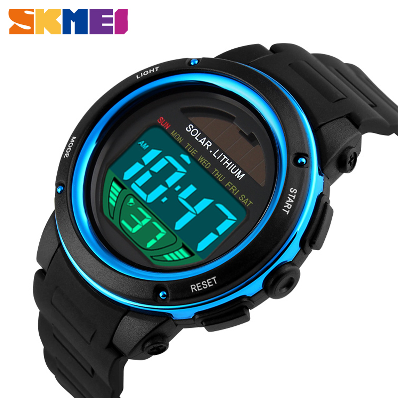 SKMEI Outdoor Sport Watch Men Solar PU Strap Wristwatches Mens Chronograph Alarm 5Bar Waterproof Digital Watch Reloj Hombre 1096