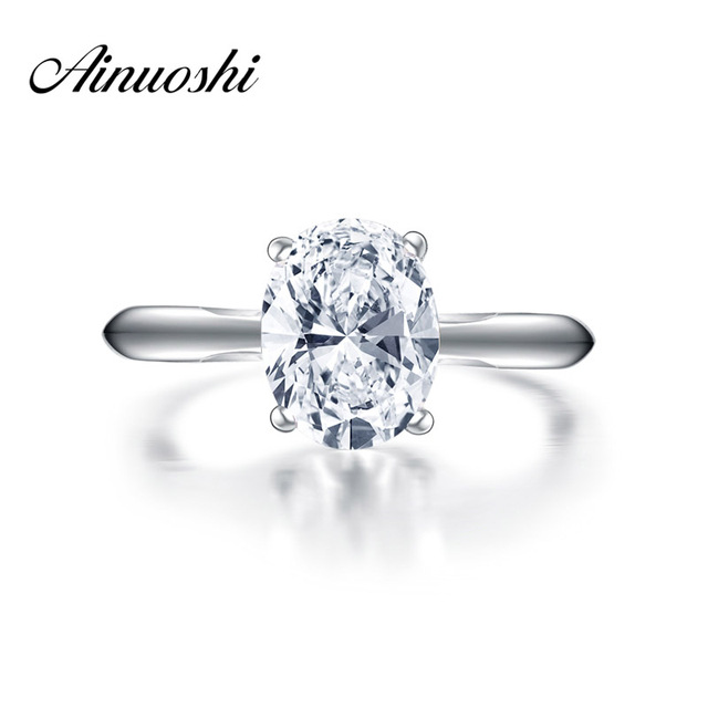 AINOUSHI New Brand Engagement Solitaire Ring Micro Setting 2 Carat Oval Ring Wedding Women Real 925 Sterling Silver Sona Rings