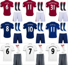 Hot sale 2017 best Quality adult Shirts kit+sock Manchesteer 16 17 Home Away 3RD Uniteds Man kit+sock Shirts free shipping