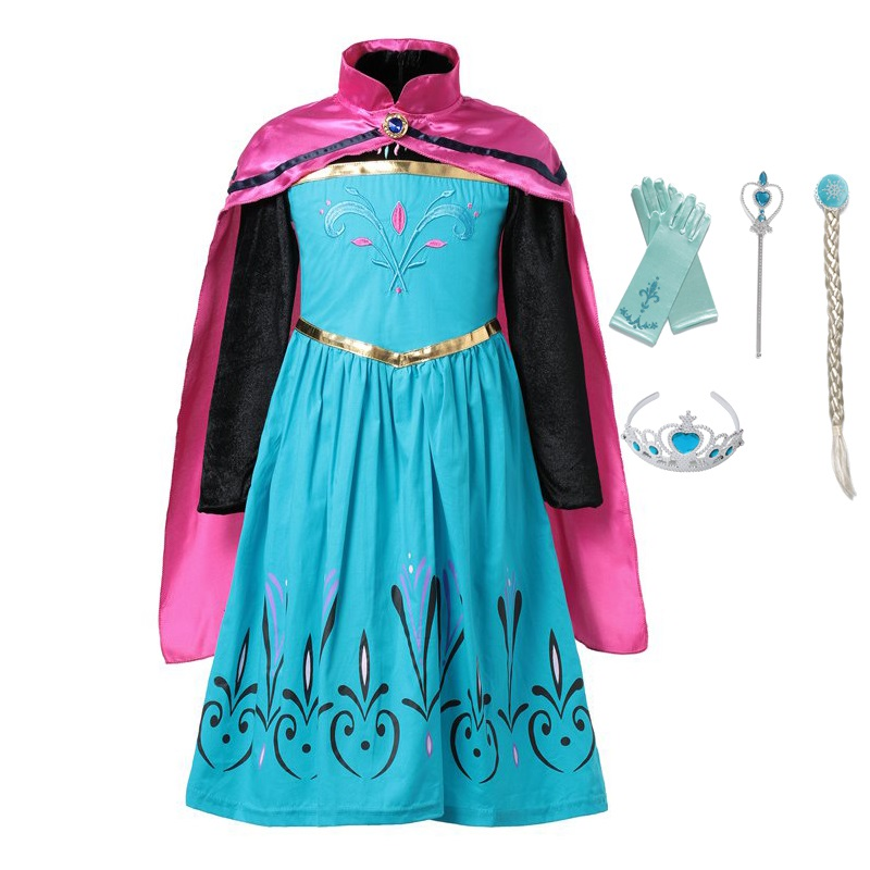 VOGUEON Little Girls Elsa Coronation Costume Kids Flower Embroidery Princess Party Cosplay Fancy Dress with Cape for Halloween 4pcs gothic halloween artificial devil vampire teeth cosplay prop for fancy ball party show