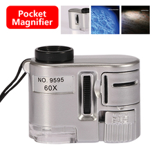 Mini Lens 60X Handheld Pocket Magnifier Microscope With LED Light Jewelry Jeweler Loupe Currency Dectector