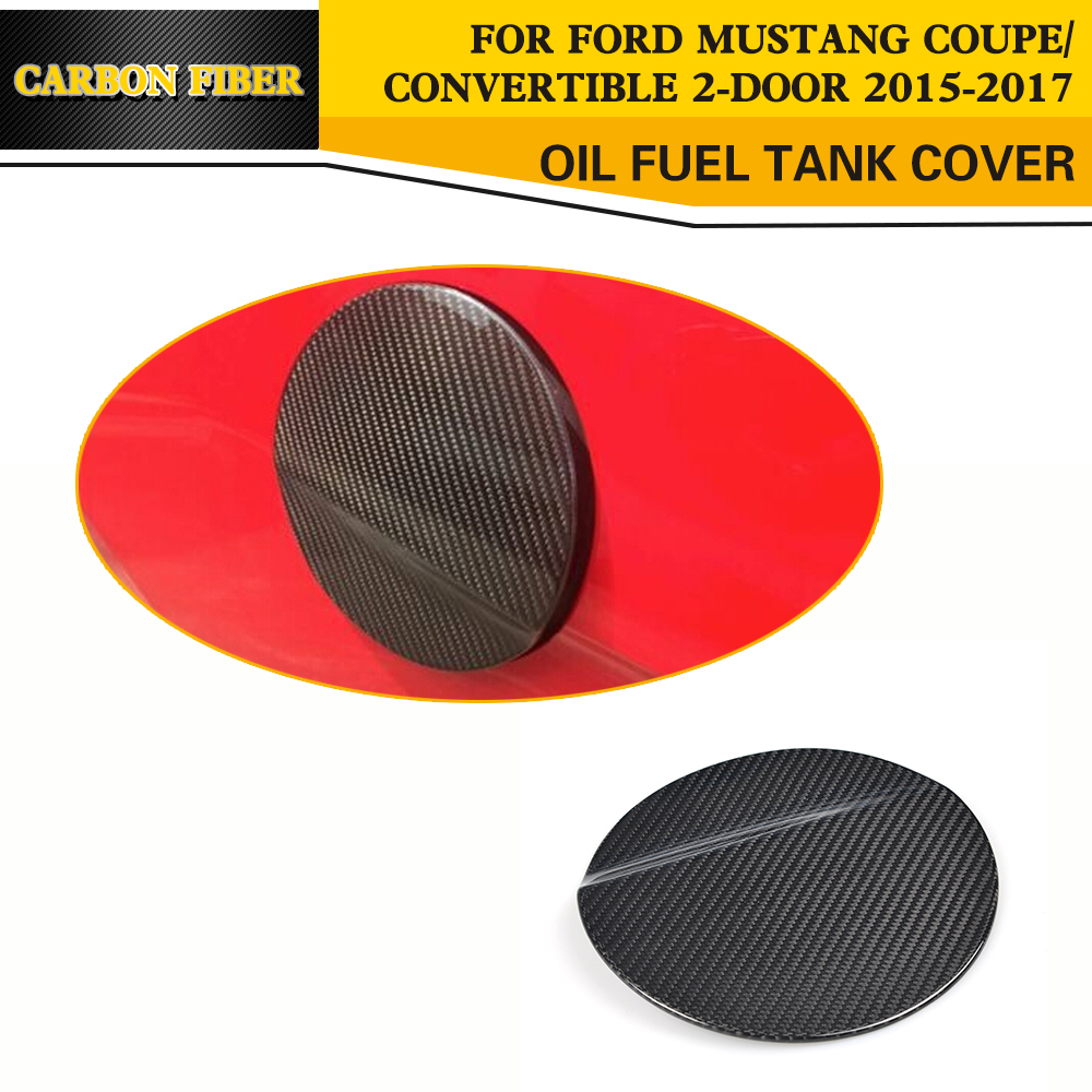 Carbon Fiber Car Styling Fuel tank Cap Cover Trim For Ford Mustang Coupe Convertible 2-Door 2015-2017 epr car styling for mazda rx7 fc3s carbon fiber triangle glossy fibre interior side accessories racing trim