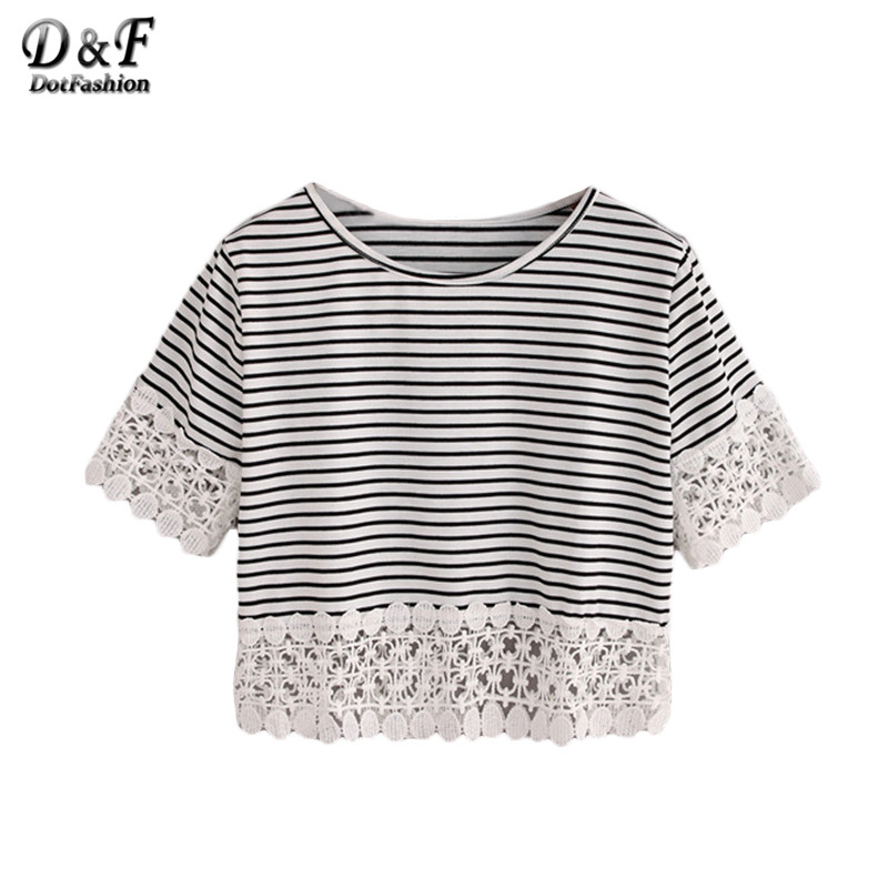 528e0d5001a Dotfashion Ladies Lace Trimmed Black White Striped Crop Tops Woman Summer  Casual Cute Short Sleeve Crew Neck T shirt-in T-Shirts from Women's Clothing  ...