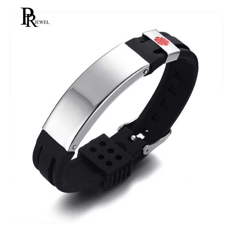 Free Engraving Medical Alert ID Silicone Stainless Steel Adjustable Bracelet