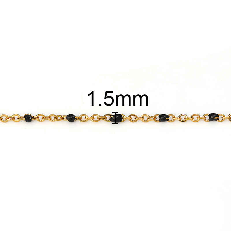 1 PC Fashion Stainless Steel Link Cable Chain Necklace Gold Enamel Trendy Jewelry Gifts 45.5cm & 50cm Long, Chain Size: 2x1.5mm