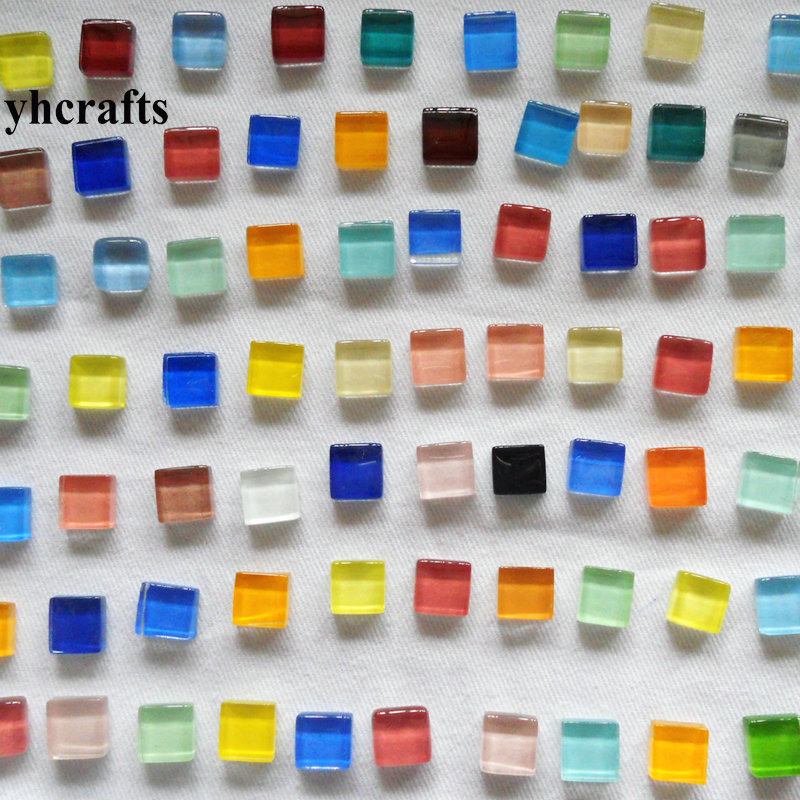 860PCS 1000Gram Lot Mixed color mosaic tile Scramble tiles Glass mosaic Craft material Home ornament Garden