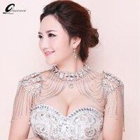 New Bride Wedding Dress Accessories Crystal Bridal Shoulder Chain Big Necklace Shoulder Strap Vintage Tassel Necklaces