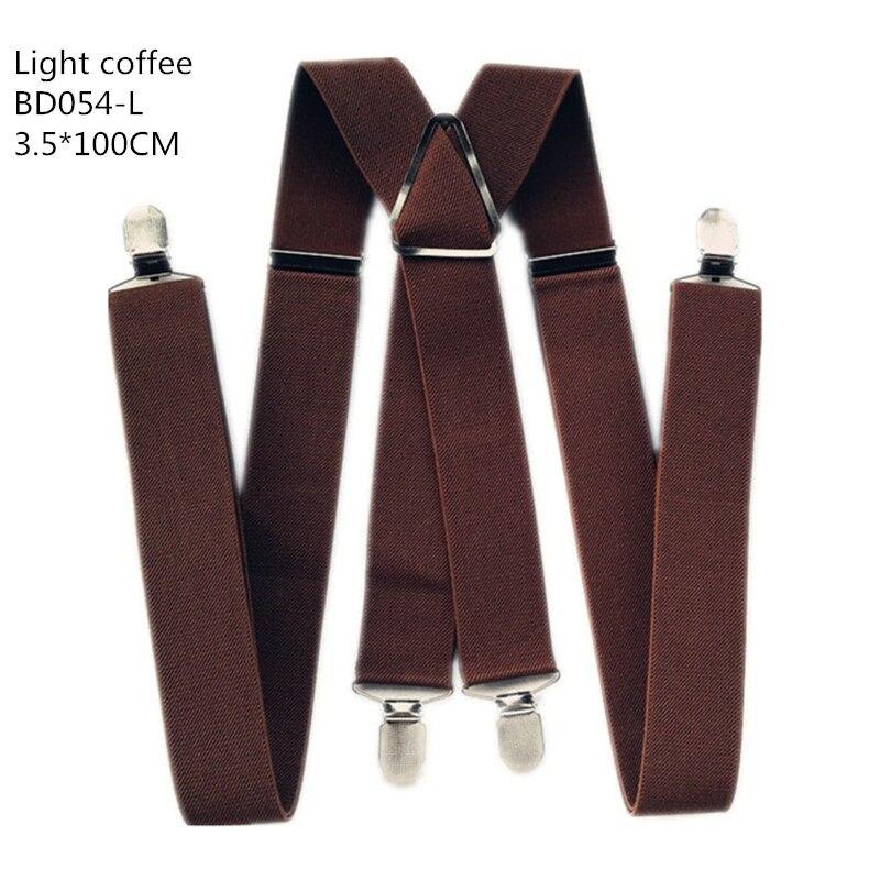 Одноцветные подтяжки унисекс для взрослых, мужские XXL, большие размеры, 3,5 см, ширина, регулируемые эластичные, 4 зажима X сзади, женские брюки, подтяжки, BD054 - Цвет: Light coffee-100cm