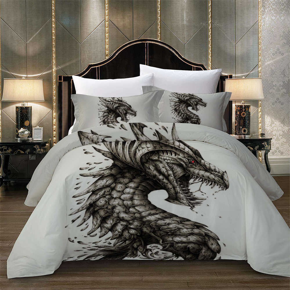 Evil Dragon bed linen set quilts and bedding set Twin Full Queen King Super King Double Size Duvet cover Quilt cover new 3pcs