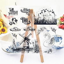 JC Clear Stamps for Scrapbooking Windmill Swan Silicone Seals Craft Stencil Album Transparent Rubber Stamp Card Making Sheet New