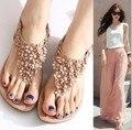 2016 Nueva Llegada de la Flor de la decoración de Las Mujeres Flip Flop Sandalias Planas de cuero Al Por Mayor Señora Zapatos F128