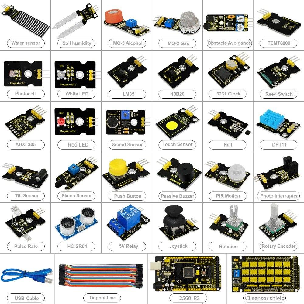 Livraison gratuite! nouveau Kit de démarrage de capteur (Mega 2560 + Shield V1) pour projet Arduino avec boîte-cadeau + capteurs (30 pièces) + PDF (en ligne) - 2