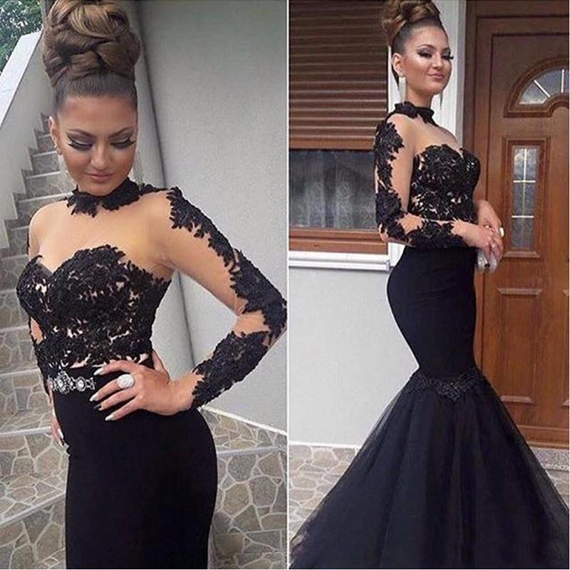 Modest Black Mermaid Prom Dresses 2020 Vestidos De Fiesta De Noche Sheer Long Sleeve Special Occasion Dress Formal Women Gowns
