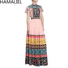 HAMALIEL Newest Designer Runway Long Maxi Women Dress 2018 Summer Chiffon Patchwork Lace Printed Floral Short Sleeve Slim Dress