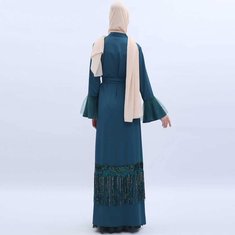 Кимоно с блестками и кисточками, абайя, Дубай, мусульманский хиджаб, платье, Турция, абайя, кафтан, Женский кафтан, Исламская одежда, халат, женский кардиган