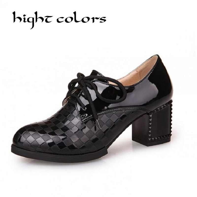 2017 Autumn British Style Japanned Leather High Heel Shoes Womens Block Heel Brogue Chelsea Lace Up Casual Work Oxfords Shoes