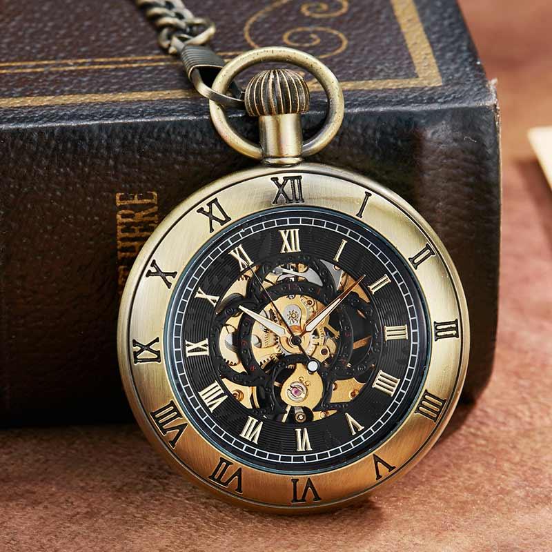 Relógio de Bolso Luxo dos Homens Relógios de Bolso Mecânico com Corrente Vintge Mecânico Numerais Romanos Dial Esqueleto Design Exclusivo Retro
