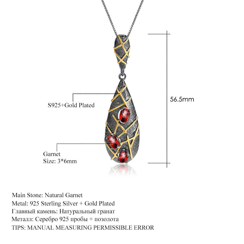 GEM'S บัลเล่ต์ 1.8Ct ธรรมชาติโกเมนอัญมณี 925 เงินแท้ Handmade Cross เส้นสร้อยคอจี้สำหรับเครื่องประดับสตรี