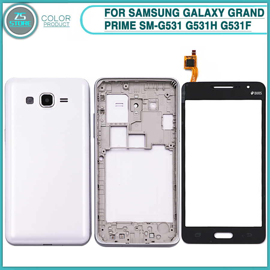newest collection ac459 6eafa G531 Full Housing Case For Samsung Galaxy Grand Prime SM-G531 G531H G531F  Battery Back Cover Middle Frame Bezel+ Touch screen