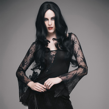EVA LADY Gothic Black Women Lace T-Shirt with Roses Decorated Steampunk Asymmetrical Hem Sexy Hollow Out Tee Shirt Tops