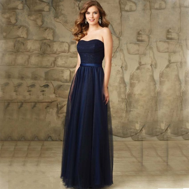 9871f2e8637 BF1240 Navy Long Bridesmaid Dresses Simple Tulle Strapless Wedding Guest  Formal Dress Women Dress Summer Style