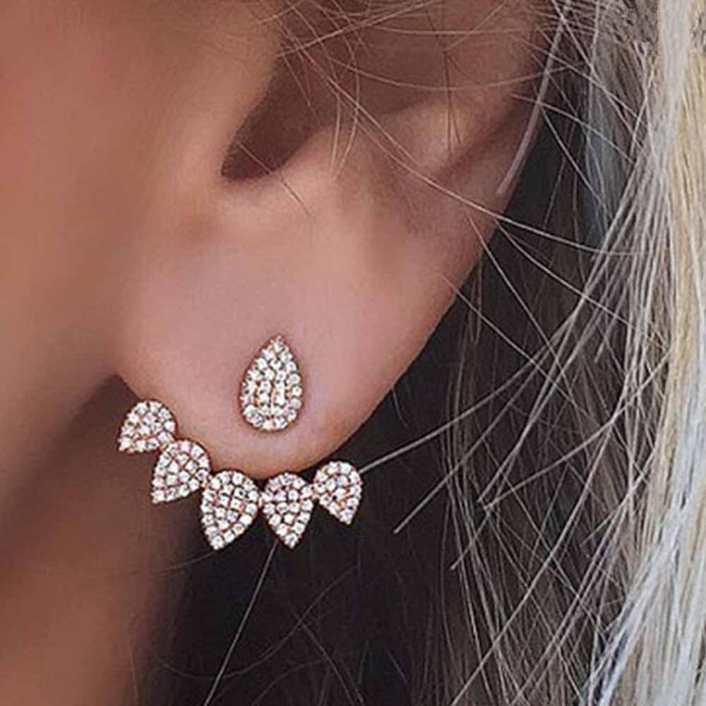 Famshin Новинка 2017 года Горячая Drop кристаллы серьгу для Для женщин цвет золотистый Двусторонняя Модные украшения Серьги женского уха Brincos