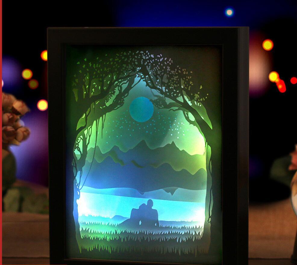 USB coloré 3D papier amant cadre photo ombre nuit lumière pour maison bureau mariage décorer anniversaire faveur cadeau Souvenirs