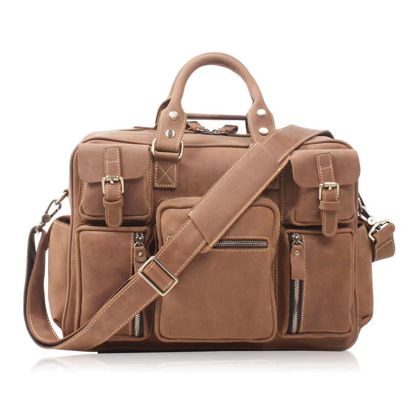 купить 2018 Men Casual Briefcase Business Shoulder Bag Genuine Leather Men's Travel Messenger Bags Computer Laptop Handbag по цене 22779.16 рублей
