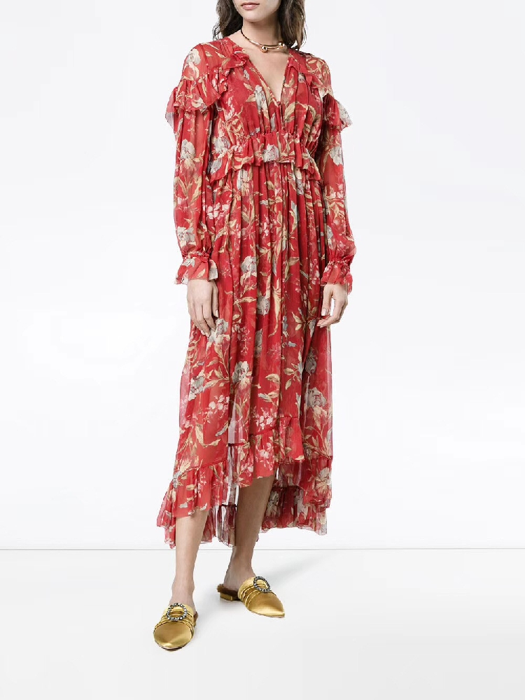100% Silk Woman Dress 18 Spring Summer Red Floral Print Ruffle Long Sleeve Deep V Neck Sexy Slim Midi Dresses For Party 4