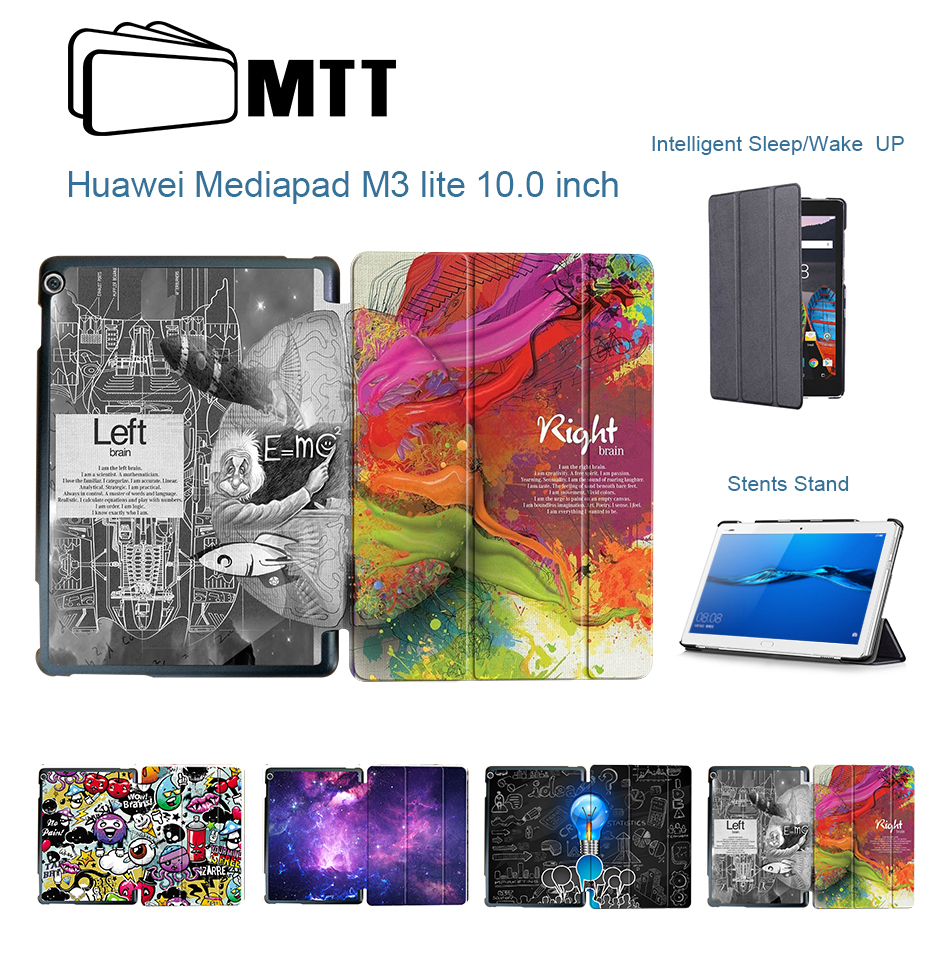 MTT Cartoon Graffiti Case For Huawei MediaPad M3 Lite 10 inch BAH-W09 BAH-AL00 Slim PU Leather Flip Smart Cover Protector Shell