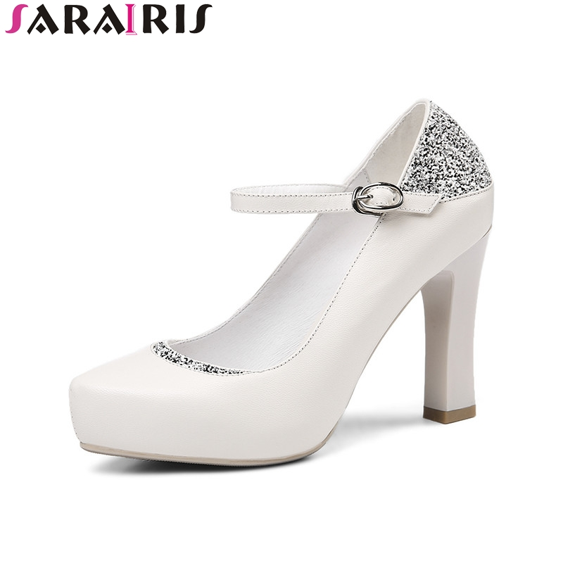 SARAIRIS 2018 Spring Autumn Women Genuine Leather Pumps Buckle Strap Fashion Glitter High Heels Shoes Woman Lady Work Shoe xexy small square toe medium heels natural leather women shoe spring autumn buckle strap dance party sweet platform women pumps