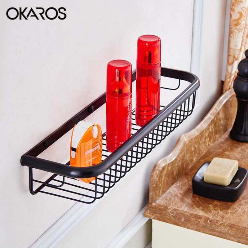 OKAROS (45cm)Wall Mounted Single Tier Bathroom Shelf Shelves Shampoo Basket Storage Basket Rack Brass Chrome Bathroom Hardware free shipping single tier bathroom aluminium shelf with towel bar rack wall mounted kitchen storage organizer shelves 50 12 12cm