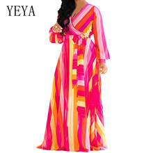 YEYA Women Autumn Long Sleeve Floral Chiffon Dress Female Sexy V Neck Elastic Waist Eleagant Hollow Out  Robe Femme