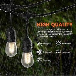 10m10led à prova dwaterproof água luzes da corda ao ar livre indoor grau comercial g40 com 2 lâmpadas sobressalentes rua jardim pátio quintal iluminação da corda do feriado