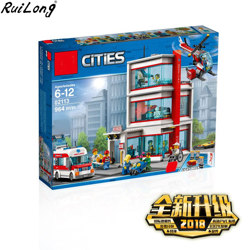 New City Serices Hospital Set Compatible With LegoINGLY City 60204 Series Building Blocks Bricks Kits Kids Educational Toys Gift