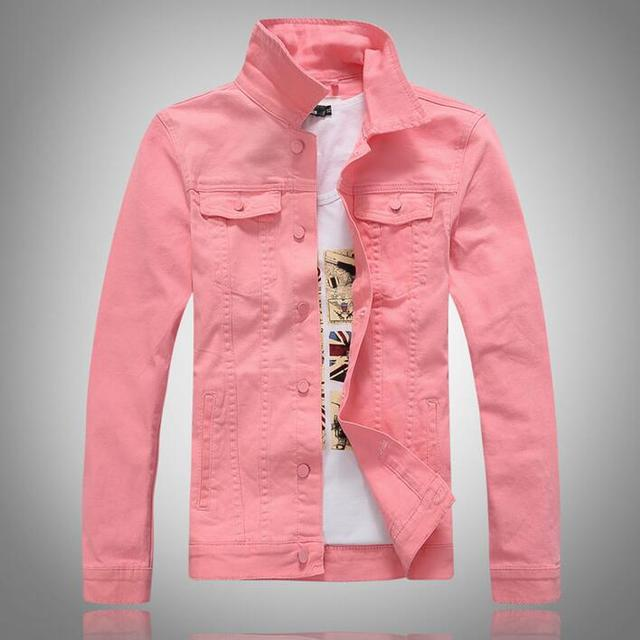 Aliexpress.com : Buy Men Pink Denim Jacket With Chest Flap Pockets ...