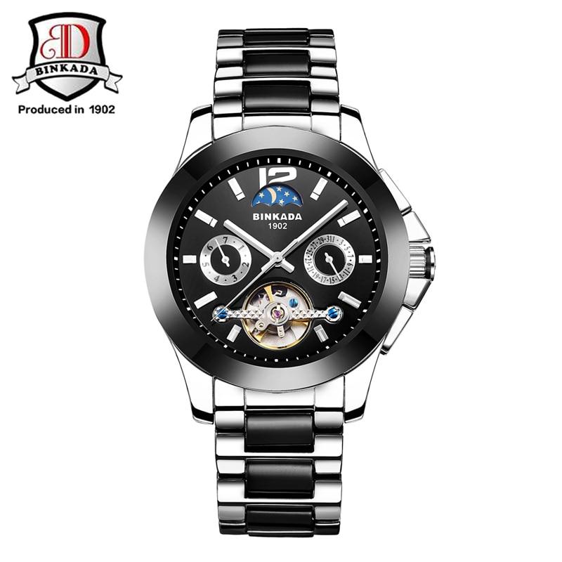 ФОТО 2017 BINKADA Brand Luxury Sport Watch Mens Automatic Skeleton Mechanical Wristwatches Fashion Casual Stainless Relogio Masculino