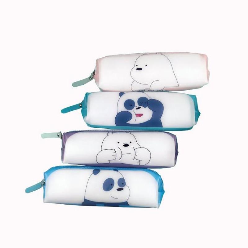 1 Pcs Cartoon Animals Bare Bears Panda Silicone Pencil Case Large Capacity Pencil Bags For Kids Gift Korean Stationery