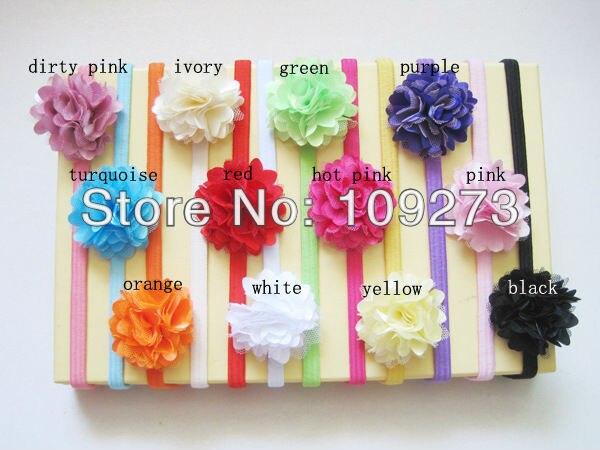 2013 new style cute headband baby,silk lace chiffon fabric flower kid headwear/ headband for girl/children