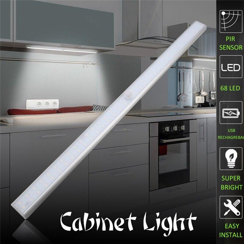 ZjRight PIR capteur de mouvement 68 LED Tube batterie Rechargeable barre d'alimentation lumière placard lampe à LED chambre armoire cuisine placard