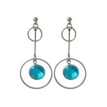 Fashion woman stud earrings Geometric circle long golden earrings dream beautiful transparent font b blue b