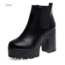 2018 Fashion Women Boots Square Heel Platforms Zapatos Mujer PU Leather Thigh High Pump Boots Motorcycle Shoes Hot Sale(China)
