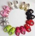 10 пар/лот рождественских подарков для bebe PU кожаные Детские Мокасины Мягкой Кисточкой блестки bling Девушки Детская Обувь fringe детская обувь