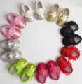 10pairs/lot chrismas gift for bebe PU leather Baby Moccasins Soft Tassel sequins bling Girls Baby Shoes fringe infant footwear
