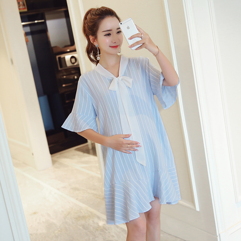 506421609738e Maternity Dresses Stripe Pregnant Women Dress Short Sleeve Cotton Loose Casual  Maternity Dress New