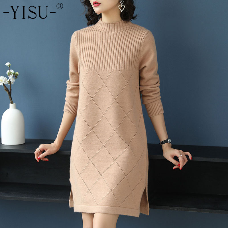 YISU Winter Long Sweater Dress Women s half Turtleneck Sweaters Pullover Female Knitted Lady Long sleeve