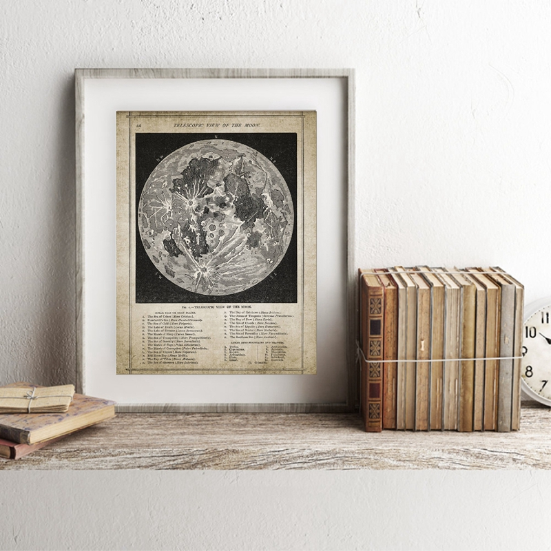 Vintage Full Moon Map Reproduction Wall Art Print Poster Lunar Astronomy Moon Chart Canvas Painting Picture Home Wall Art Decor